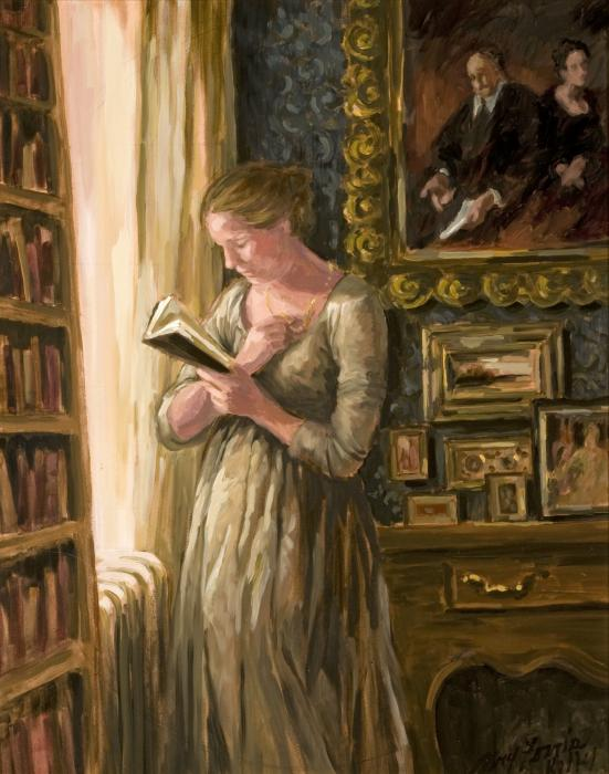 Mary Ferris Kelly -woman-reading-in-a-study