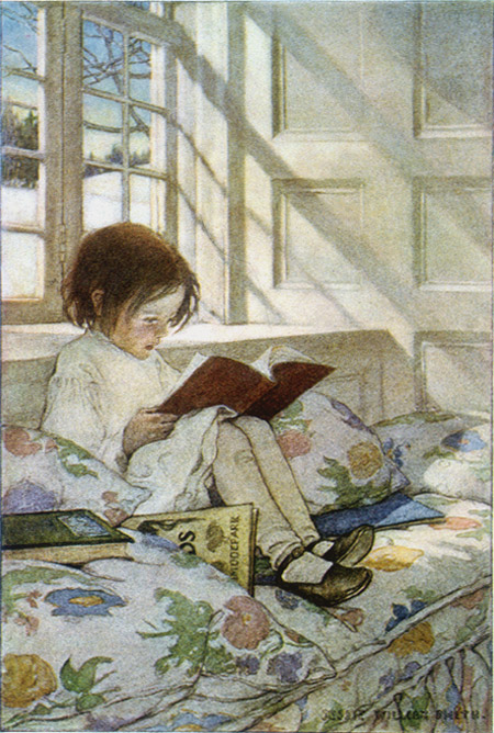 Girl reading, jessie willcox smith