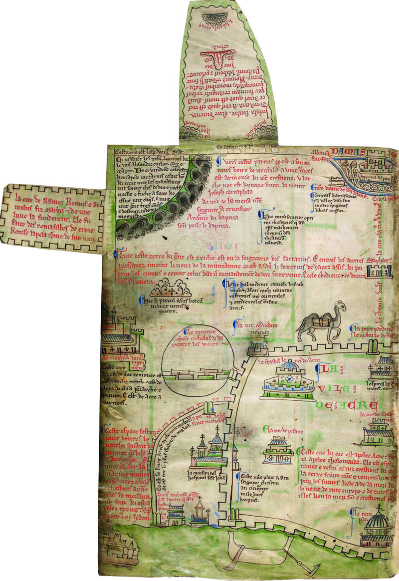 Itinerary to Jerusalem, Matthew Paris, Map to Jerusalem, St Albans, c. 1250, Royal 14 C vii, ff. 2-5