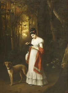 French-School-early-19th-century-A-YOUNG-WOMAN-STANDING-READING-A-BOOK-IN-A-WOOD-HER-DOG-BESIDE_1567460727_4045