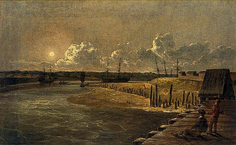 Yarmouth_Harbour _Moonlight_by_Robert_Ladbrooke